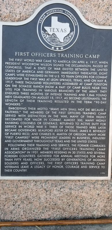 First Officers Training Camp Marker image. Click for full size.
