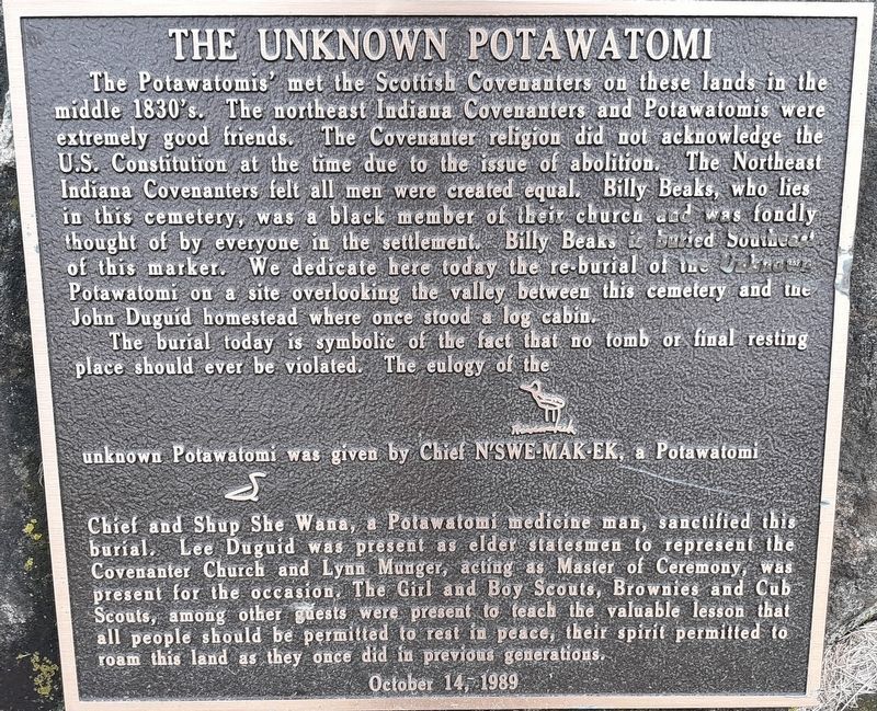 The Unknown Potawatomi Marker image. Click for full size.