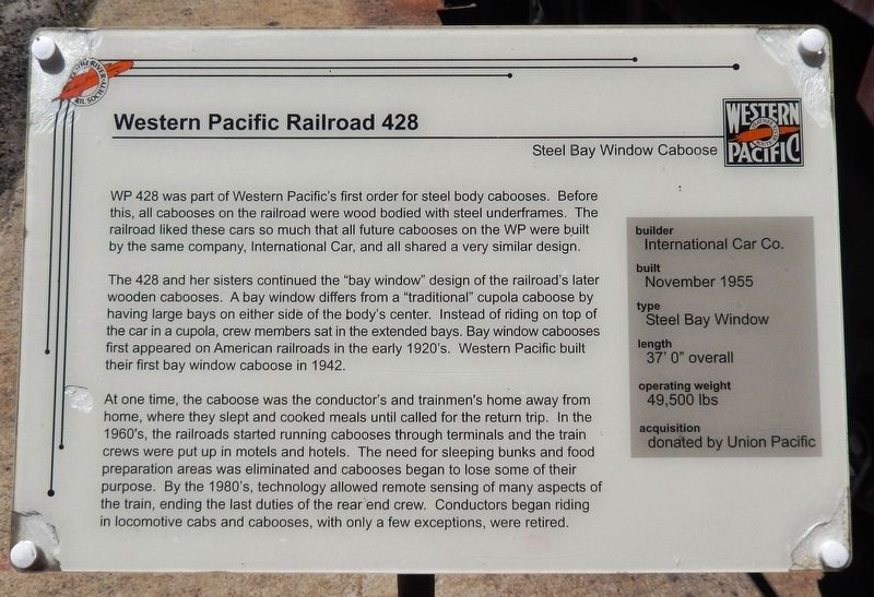 Western Pacific Railroad 428 Marker image. Click for full size.