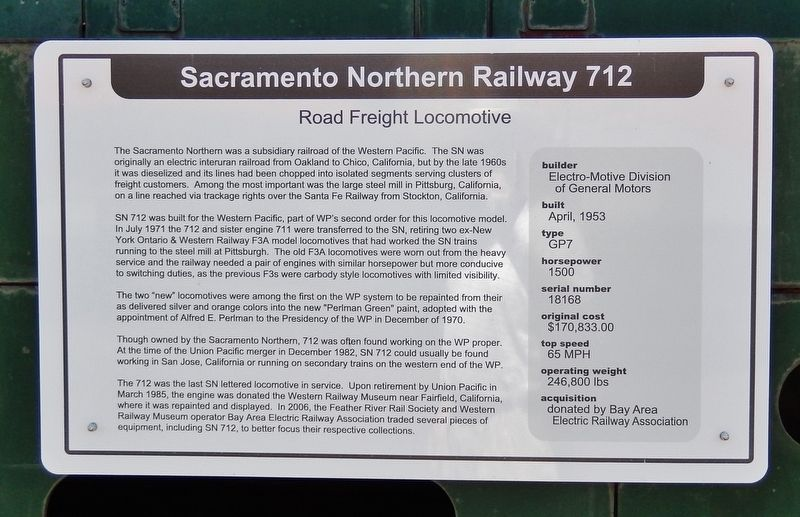 Sacramento Northern Railway 712 Marker image. Click for full size.