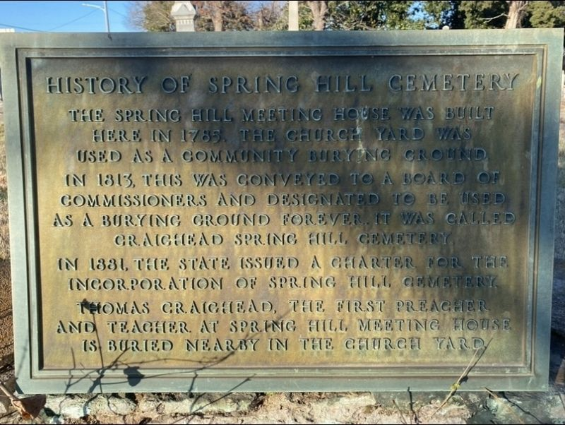 History of Spring Hill Cemetery image. Click for full size.