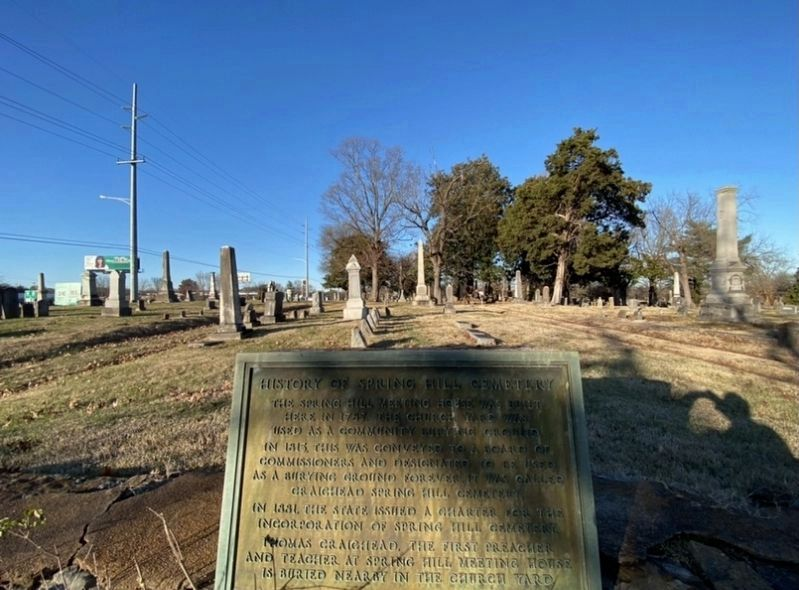 History of Spring Hill Cemetery Marker image. Click for full size.
