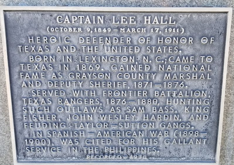 Captain Lee Hall Marker image. Click for full size.