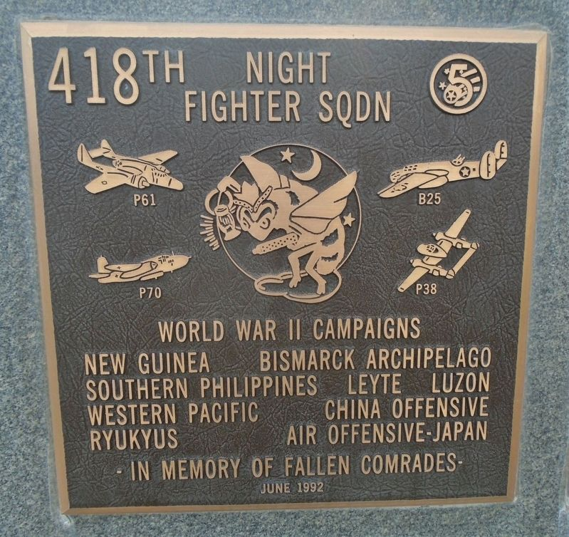 418<sup>th</sup> Night Fighter Squadron Marker image. Click for full size.