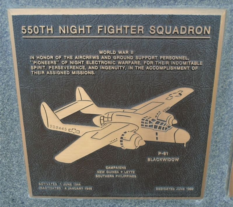 550th Night Fighter Squadron Marker image. Click for full size.