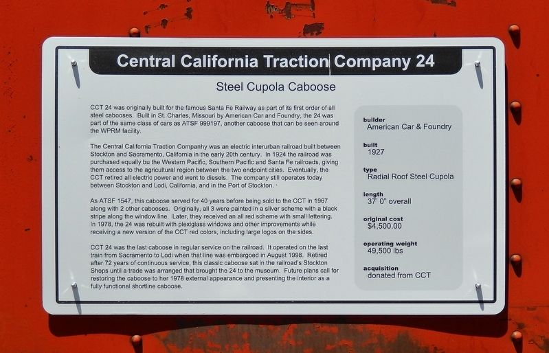 Central California Traction Company 24 Marker image. Click for full size.