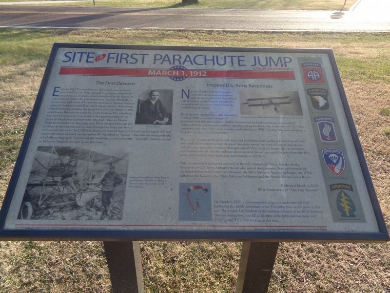 Site of First Parachute Jump Marker image. Click for full size.