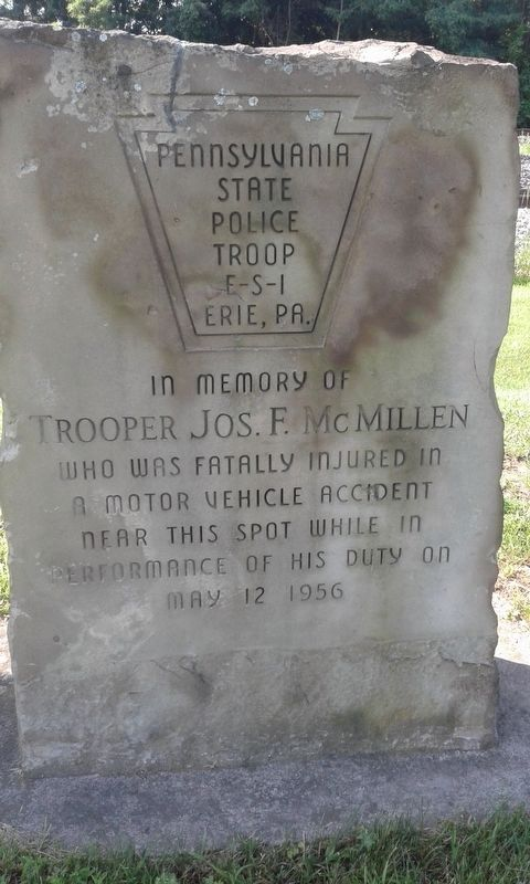 Trooper Jos. F. McMillen Memorial image. Click for full size.
