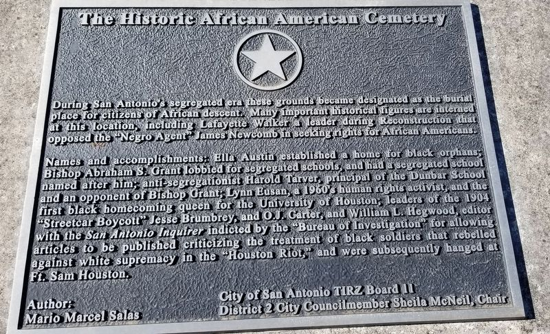 The Historic African American Cemetery Marker image. Click for full size.