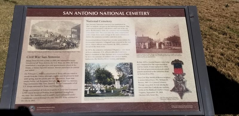 San Antonio National Cemetery Marker image. Click for full size.