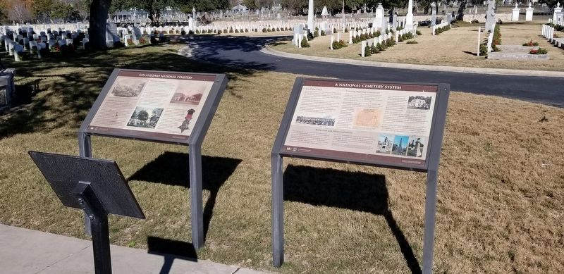 San Antonio National Cemetery Marker, on the left image. Click for full size.