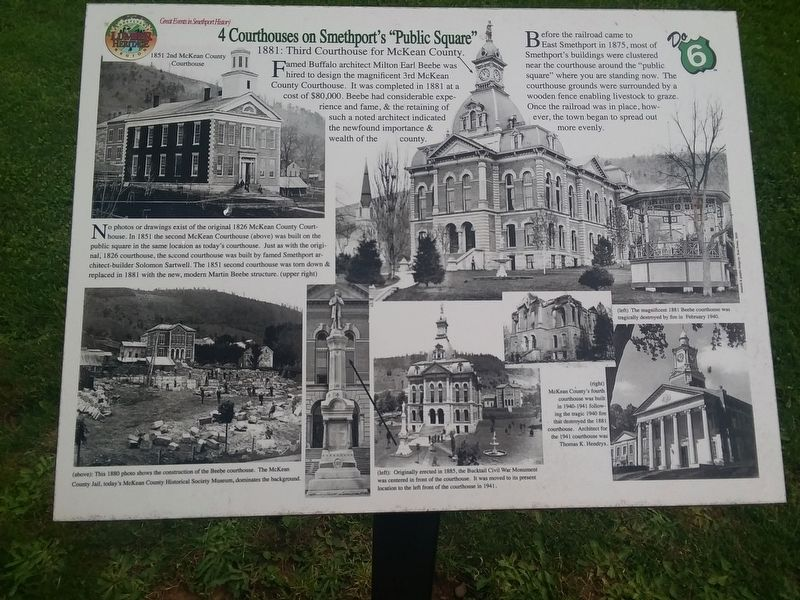 "4 Courthouses on Smethport's ""Public Square"" Marker image. Click for full size."