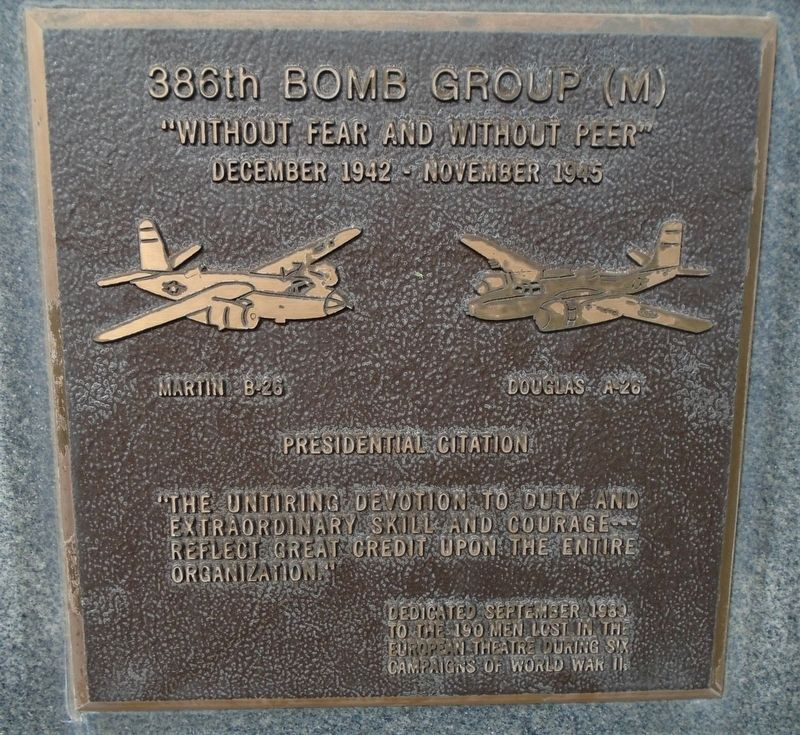 386th Bombardment Group (M) Marker image. Click for full size.