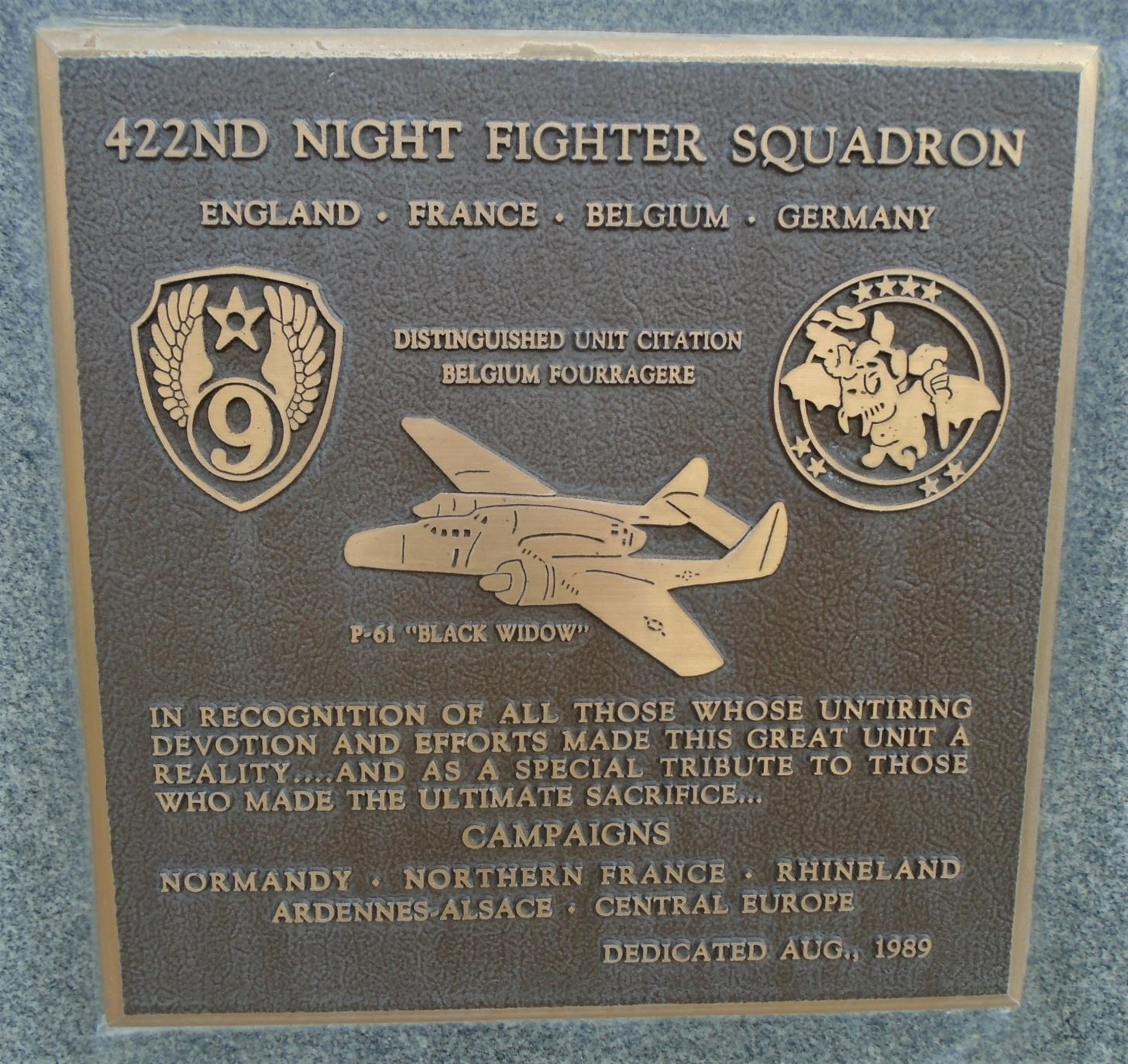 422nd Night Fighter Squadron Marker