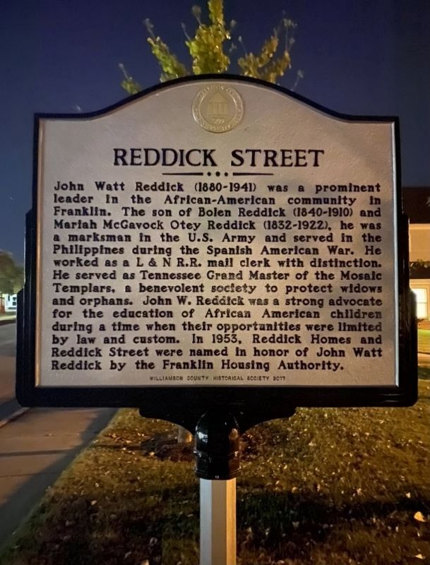 Franklin Housing Authority (FHA)/ Reddick Street Marker image. Click for full size.