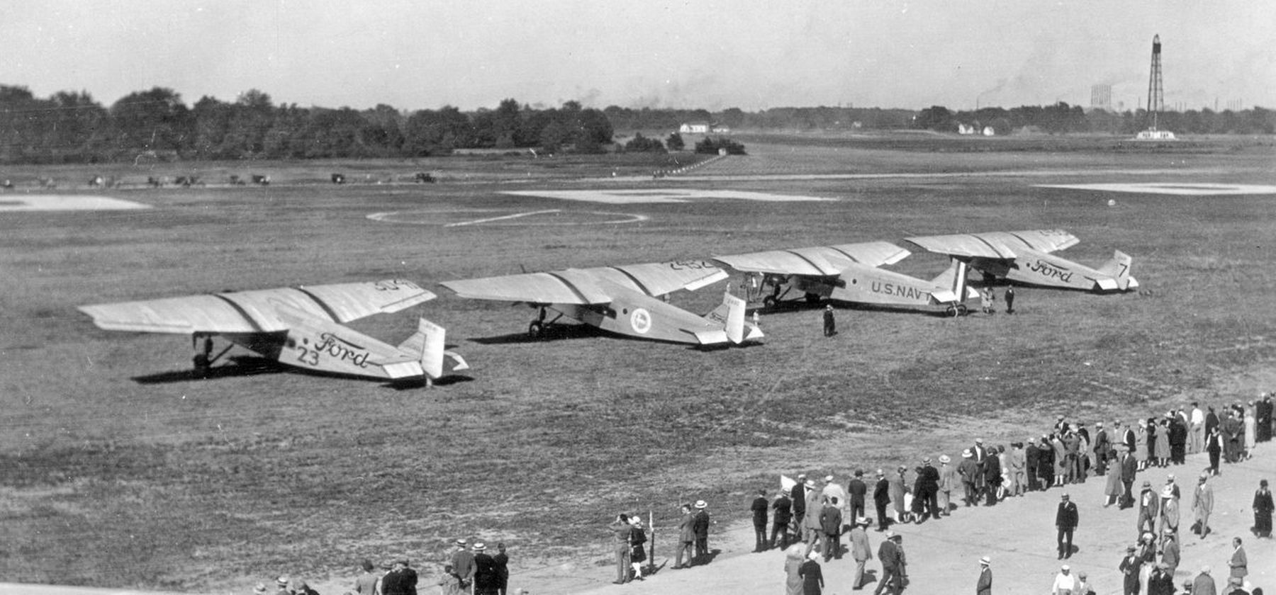 A photo of 4 Ford Trimotors at Ford Airport image. Click for full size.
