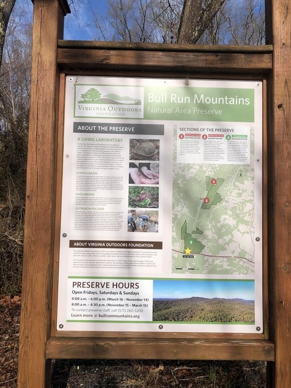 Bull Run Mountains Natural Area Preserve Marker image. Click for full size.