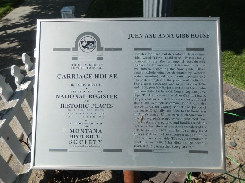 John and Anna Gibb House Marker image. Click for full size.