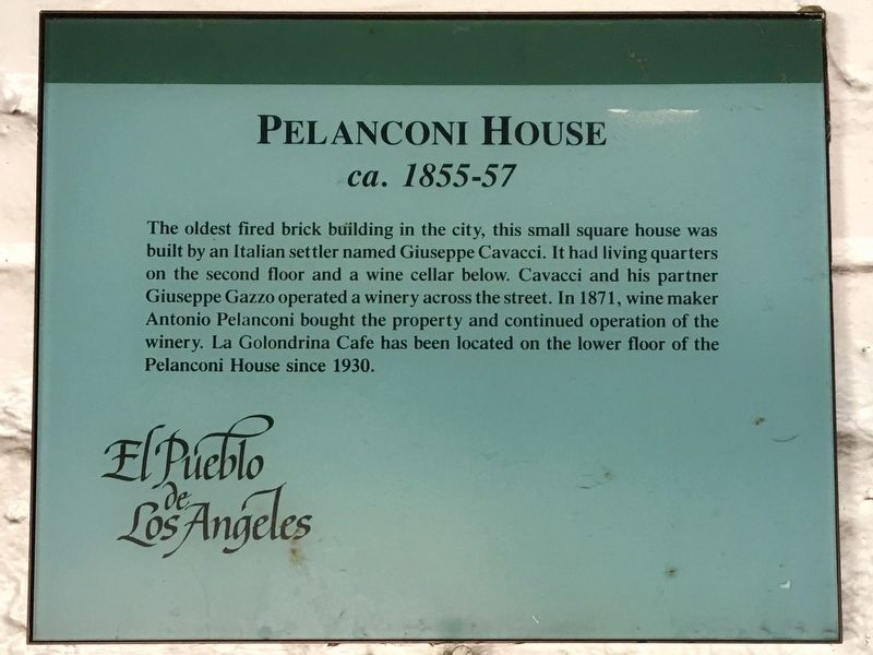 Pelanconi House Marker image. Click for full size.