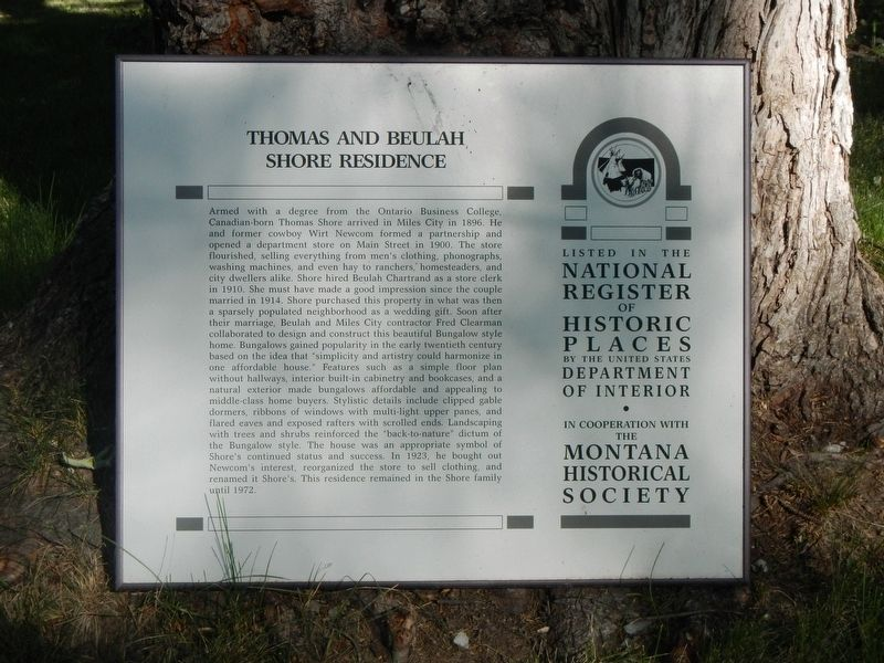 Thomas and Beulah Shore Residence Marker image. Click for full size.