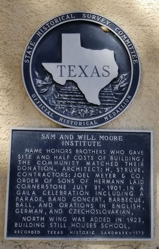Sam and Will Moore Institute Marker image. Click for full size.