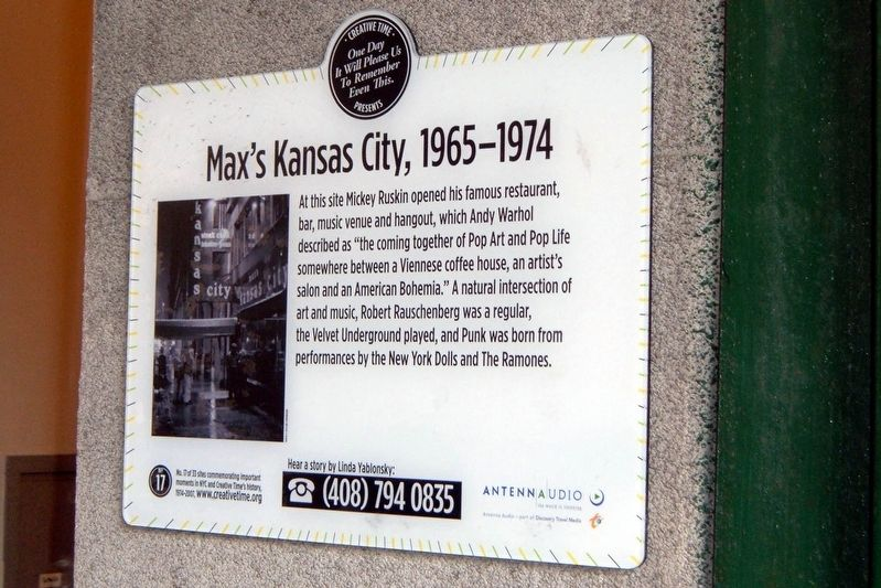Max's Kansas City, 1965-1974 Marker image. Click for full size.