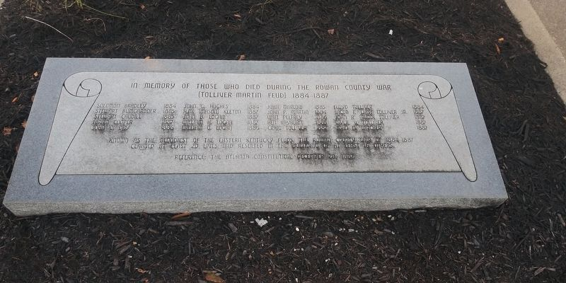 Rowan County War (Tolliver Martin Feud) 1884-1887 Marker image. Click for full size.
