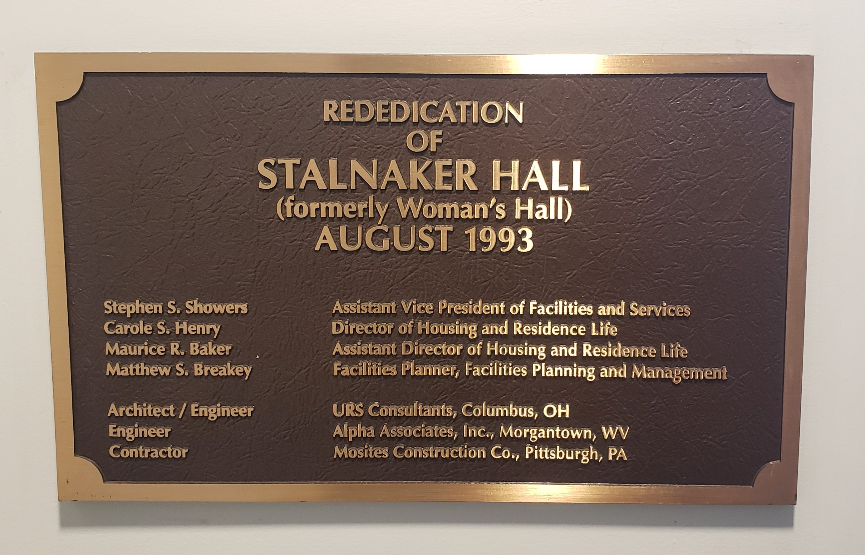 Stalnaker Hall Rededication Marker