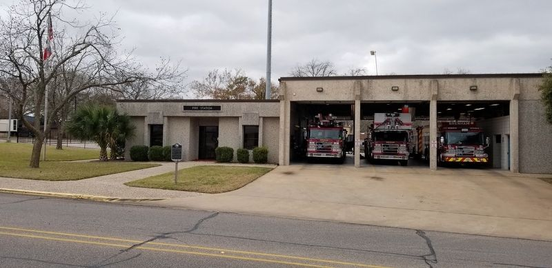 The City of Brenham's Fire Station and the marker image. Click for full size.