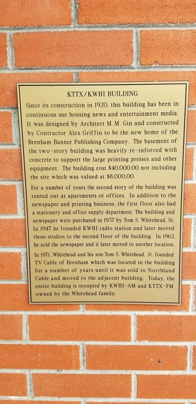 KTTX/KWHI Building Marker image. Click for full size.