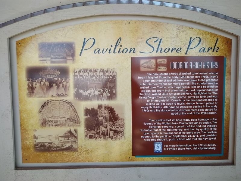 Pavilion Shore Park: Honoring a Rich History Marker image. Click for full size.