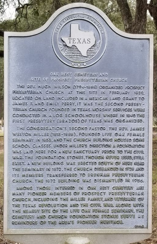 Oak Rest Cemetery and Site of Prospect Presbyterian Church Marker image. Click for full size.