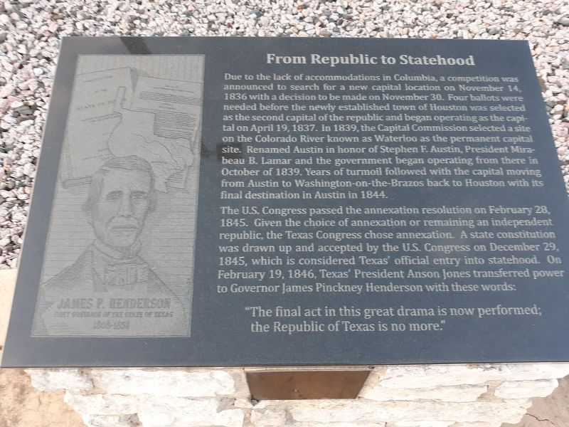 From Republic to Statehood Marker image. Click for full size.