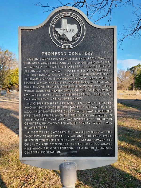 Thompson Cemetery Marker image. Click for full size.