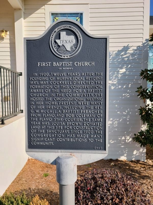 First Baptist Church of Murphy Marker image. Click for full size.