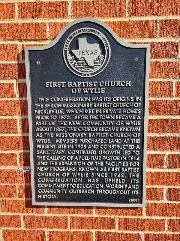 First Baptist Church of Wylie Marker image. Click for full size.