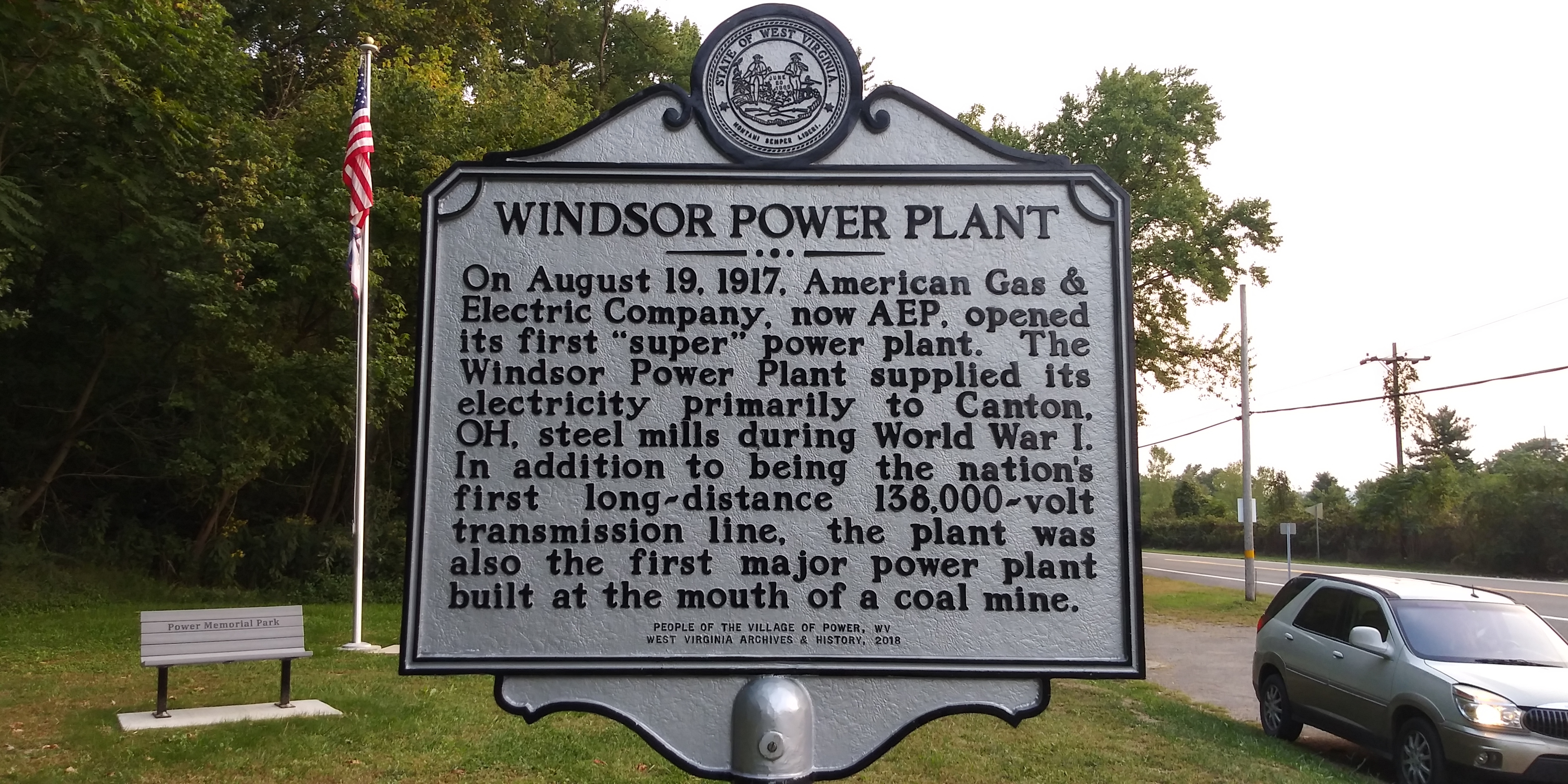 Windsor Power Plant side of the marker