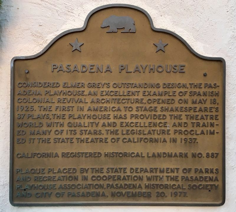 Pasadena Playhouse Marker image. Click for full size.