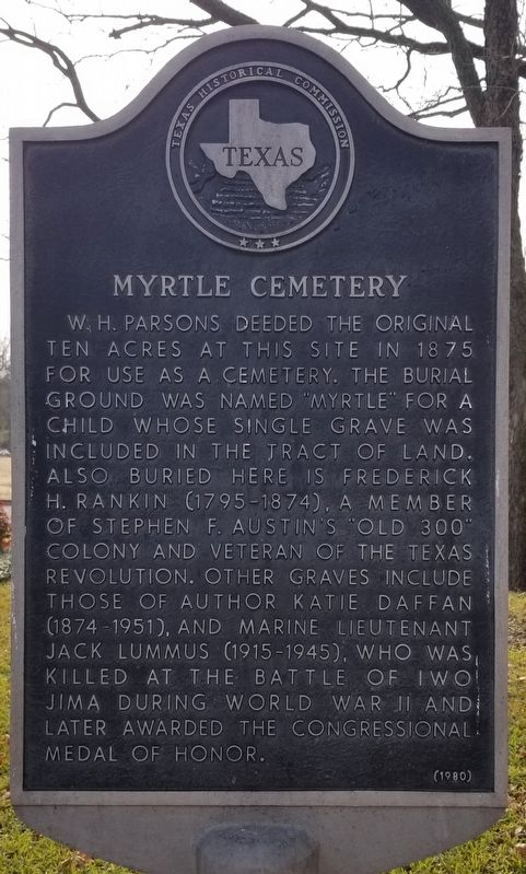 Myrtle Cemetery Marker image. Click for full size.