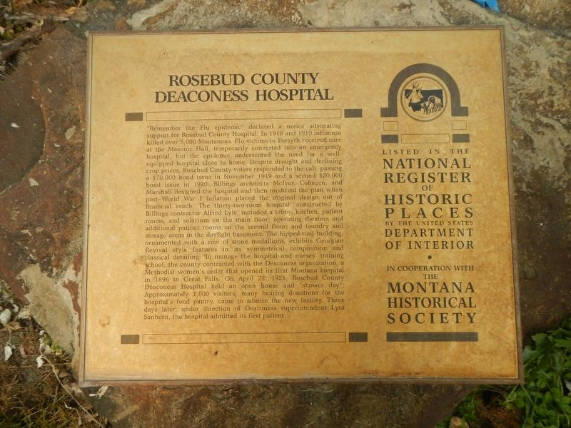 Rosebud County Deaconess Hospital Marker image. Click for full size.