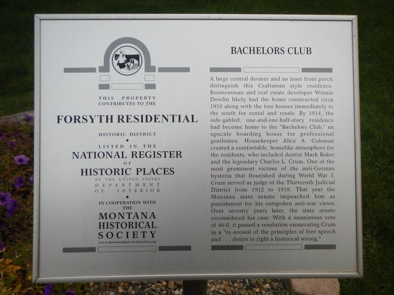 Bachelors Club Marker image. Click for full size.