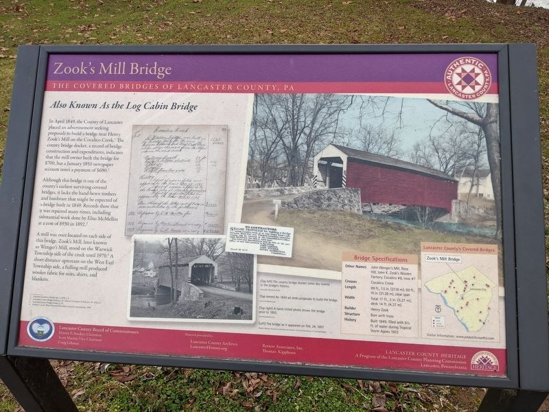 Zook's Mill Bridge Marker image. Click for full size.