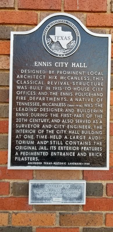 Ennis City Hall Marker image. Click for full size.