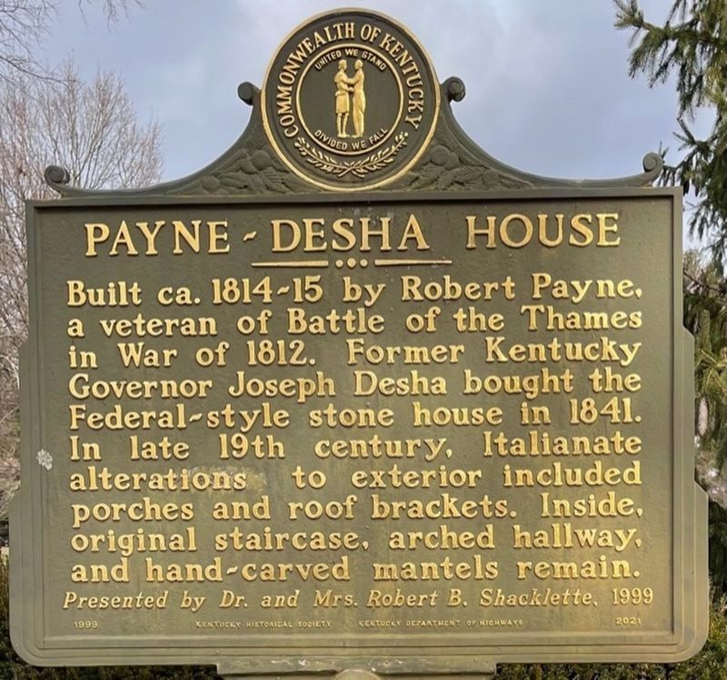 Payne-Desha House side of the marker image. Click for full size.