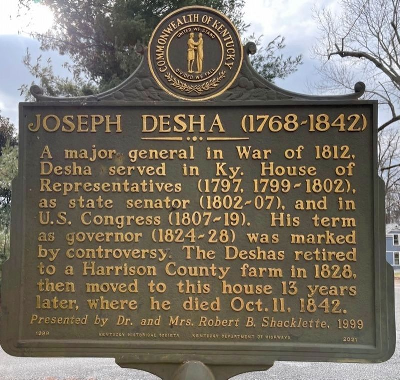 Joseph Desha (1768-1842) side of the marker image. Click for full size.
