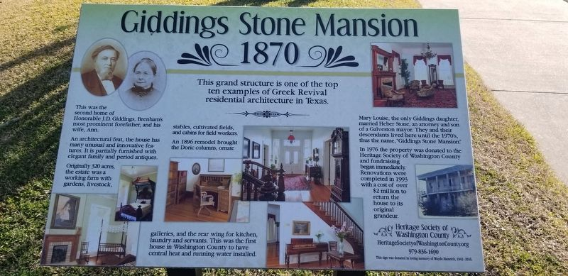 Giddings Stone Mansion 1870 Marker image. Click for full size.