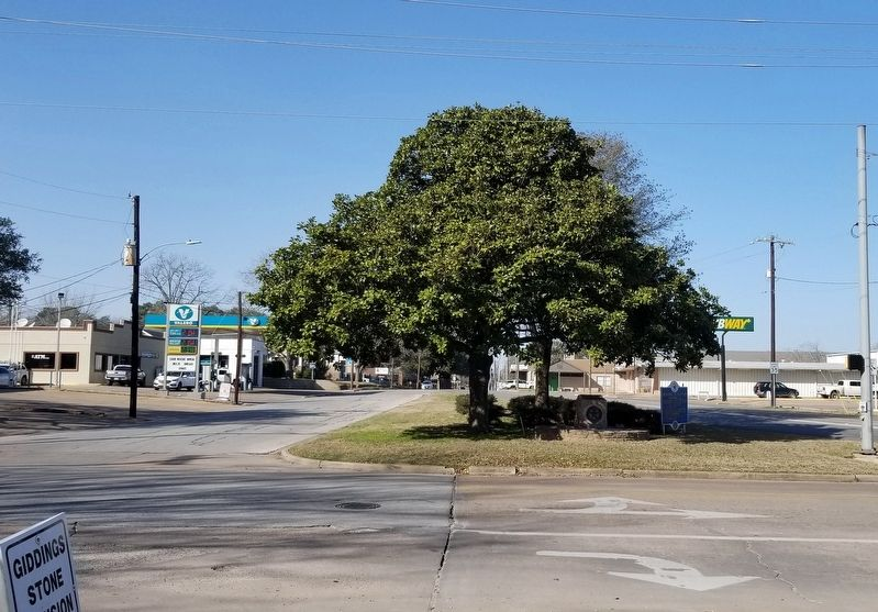 The view of the City of Brenham Marker from the road image. Click for full size.