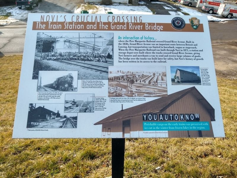 Novi's Crucial Crossing: The Train Station and the Grand River Bridge Marker image. Click for full size.