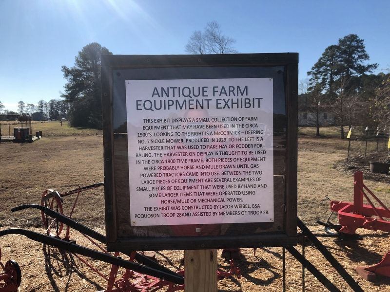Antique Farm Equipment Exhibit Marker image. Click for full size.