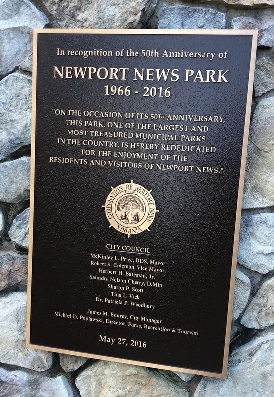Newport News Park Marker [Left plaque] image. Click for full size.